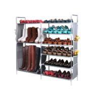 双排6层9格侧挂袋简易组合鞋架
