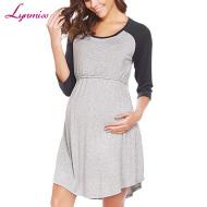 孕婦短袖純色拼接哺乳睡裙