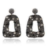 欧美爆款金属镶钻米珠耳环