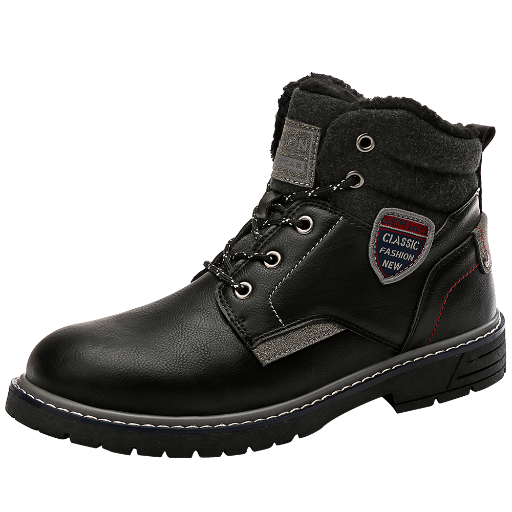 冬季男士加绒登山鞋马丁靴 保暖棉鞋